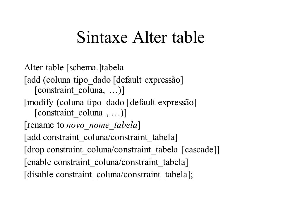 Sintaxe Alter table Alter table [schema.]tabela